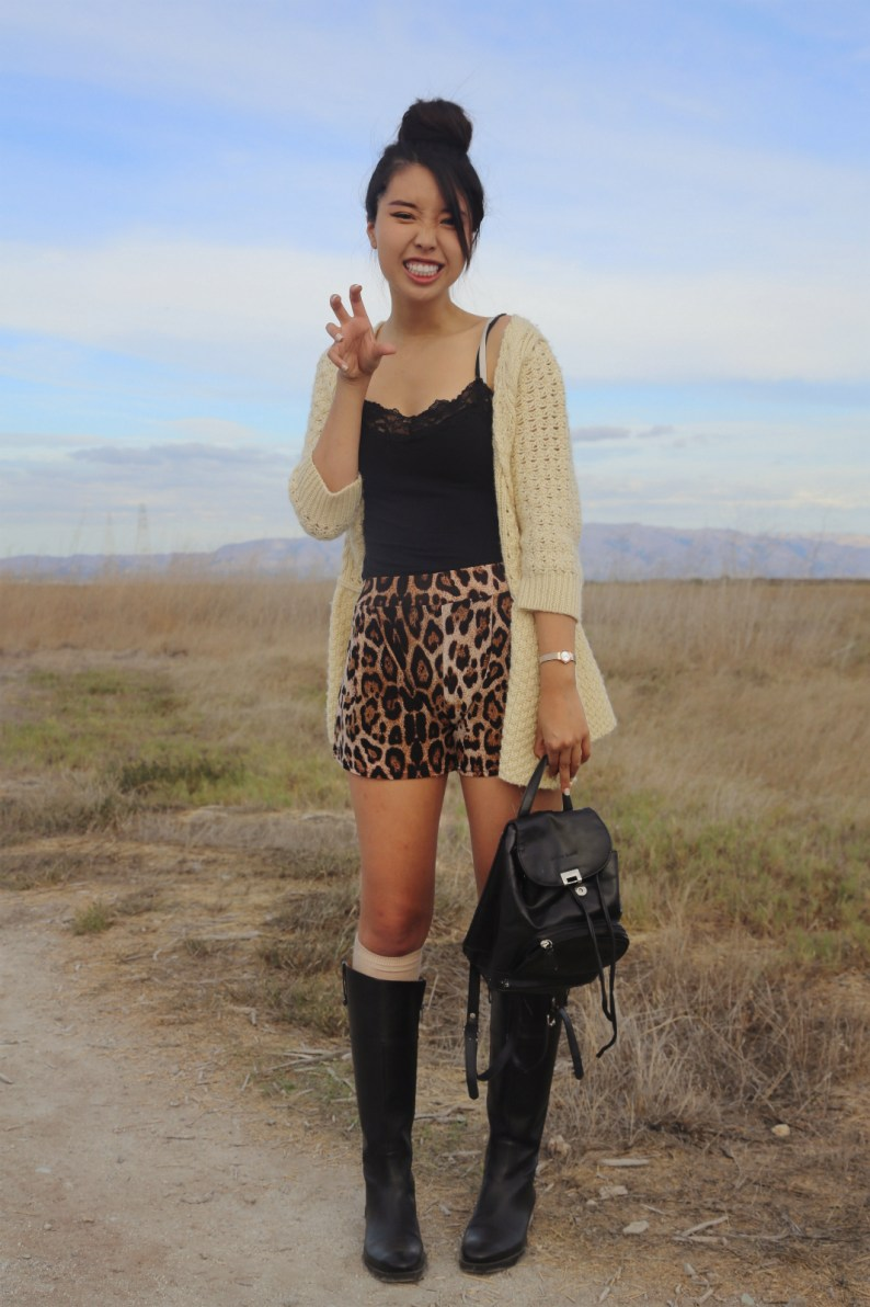 ally gong, leopard print, outfit, ootd, nature, palo alto, fashion blogger, blog , style, baylands tundra leather, black, knee-boots, choies, review, backpack, japanese, kawaii, cute, hairstyle, high bun, donut,
