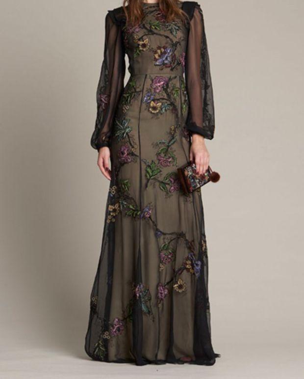 فستان أسود شيفون