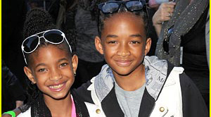 """LOS ANGELES, CA - APRIL 05:  Actors Jaden Smith and Willow Smith arrive at the Los Angeles premiere of """"The Perfect Game"""" in the Pacific Theaters at the Grove on April 5, 2010 in Los Angeles, California.   (Photo by Jason Merritt/Getty Images) *** Local Caption *** Jaden Smith;Willow Smith"""