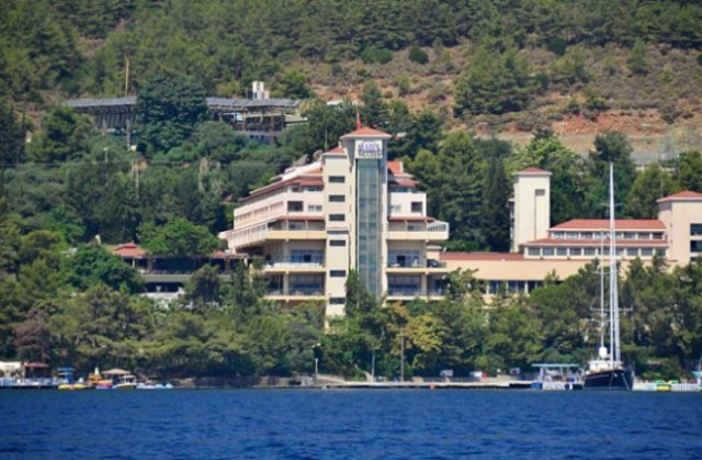 General Views of the five-star Grand Yazici Mares Hotel resort in Icmeler, Turkey. British tourists ran for their lives after hotel staff in Turkey posed as so-called Islamic State (ISIS) terrorists in a tasteless poolside prank. Workers are reported to have donned traditional Arab clothing while carrying fake machine guns, shocking holidaymakers in the resort just six weeks after 38 people were gunned down in a beach massacre in Tunisia.  Featuring: Grand Yazici Mares Hotel resort Where: Icmeler, Turkey When: 13 Aug 2015 Credit: Steve Searle/WENN.com
