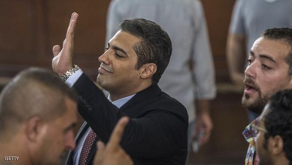 صحفي الجزيرة الإنجليزية محمد فهمي خلال إحدى جلسات المحاكمة