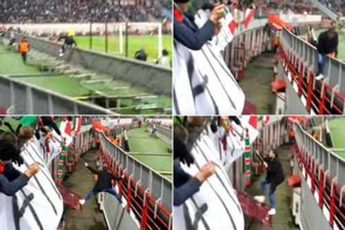 مشجع يهرب من أمن الملعب