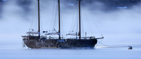 In this Friday Jan. 16, 2009 file photo arctic sea smoke drifts by Raw Faith, a 88-foot galleon, on a minus -12 degree F morning in Rockland, Maine. The sailing vessel was abandoned by its crew of two when a U.S. Coast Guard helicopter picked them up 100-miles off of Nantucket Wednesday morning Dec. 8, 2010. The ship sank shortly after.   (AP Photo/Robert F. Bukaty, File)