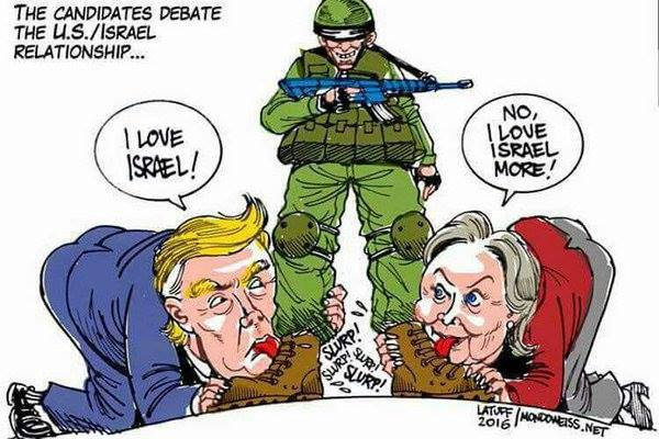 ترامب وكلينتون يتسابقان في مزاد التملق لاسرائيل !
