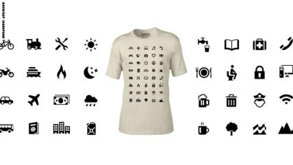 Iconspeak T-shirts are decorated with symbols aimed at helping travelers communicate. Don't let the preposterous hat distract you. It's fashion at its functional best. Nearly 40 symbols can aid conversations about travel basics such as hotels, transport, food, beer and Wi-Fi.