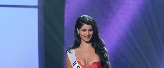 Miss USA Rima Fakih poses for the judges in an evening gown of her choice during the 2010 Miss Universe Presentation Show at Mandalay Bay Event Center in Las Vegas, Nevada August 19, 2010. The Miss Universe 2010 competition will be aired live on August 23, 2010. REUTERS/Miss Universe Organization/Darren Decker/Handout    (UNITED STATES - Tags: ENTERTAINMENT FASHION) FOR EDITORIAL USE ONLY. NOT FOR SALE FOR MARKETING OR ADVERTISING CAMPAIGNS