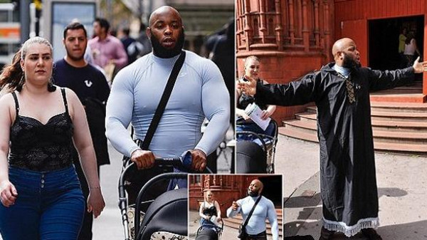 """Islamic street preacher, Krissoni Henderson, 31, with his partner arriving at Birmingham Magistrates court today where he is charged with public order offences for allegedly shouting verbal abuse at a woman in Birmingham city centre and swearing at her """"for wearing tight jeans"""".  See NTI story NTIPREACH.  September 6, 2016."""