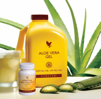 Allergy with aloe vera and bee pollen