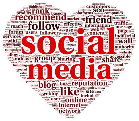 social media tag cloud heart shape