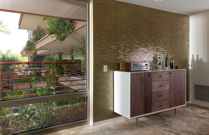 Green glass mosaic feature wall