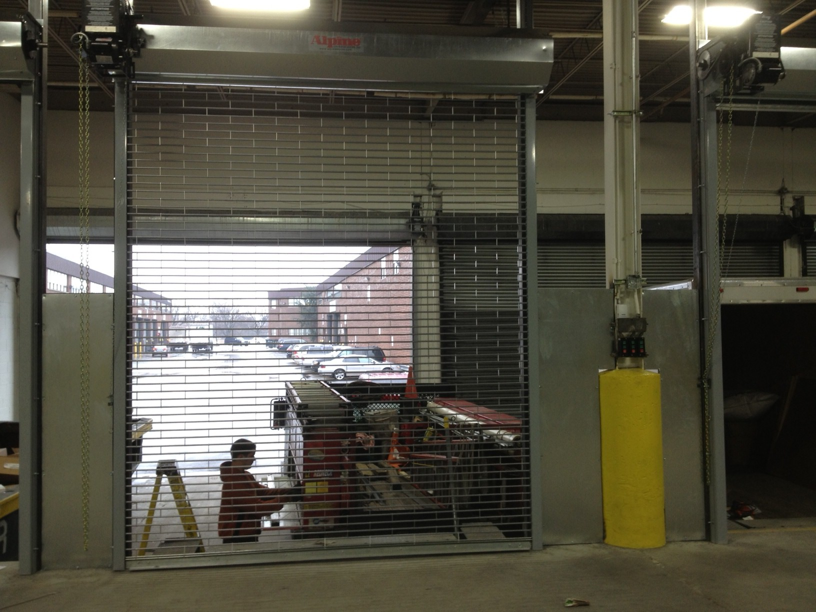 Rolling grille doors stainless parking garage