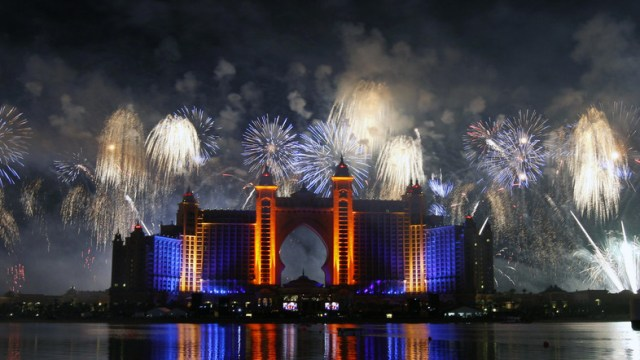Fireworks are seen during the grand opening of Atlantis, The Palm in Dubai