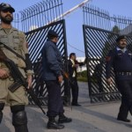 Pervez Musharraf treason trial, Islamabad: Pakistani paramilitary soldier and police outside court