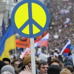 People take part in an anti-war procession and a rally in Moscow