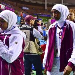 Qatar's women's basketball team leaves court after forfeiting their women's basketball game against Mongolia at Hwaseong Sports Complex during 17th Asian Games in Incheon