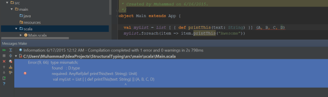 Type D - Compilation Error