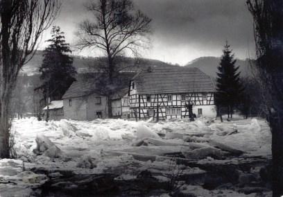 Eisgang an der Scheid's Mühle 1956