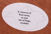 Dedication plaque of Merstone to Rod Lerew