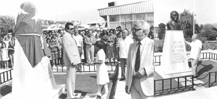 Bizimköy Atatürk büstünün açılış töreni, 30 Ağustos 1981 Açılıştan önce (solda) ve açıldıktan sonra (sağda)