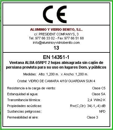 Certificado de ventanas de aluminio