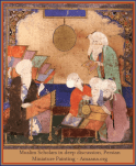 Muslim Scholars in deep discussion, Persian Miniature Painting - Amaana.org