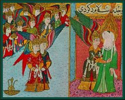 Prophet Muhammad being prepared for Miraj by Angel Gabriel