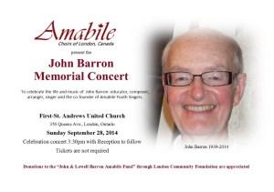 Barron Memorial Concert Promo card