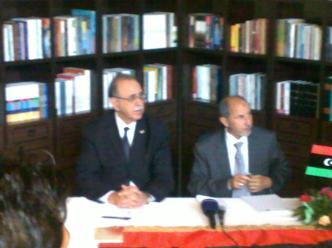 Members of the NTC Visit Ajdabiya hotel