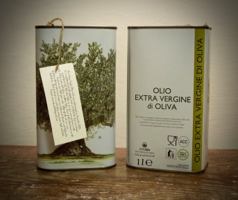 Our oil for sale in one liter tins. Organic. Extra-virgin. Acidity level 0.02%. Cold-extracted. Unfiltered.