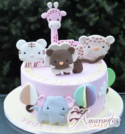 Baby Animals Birthday Cake - Amarantos Cakes Melbourne