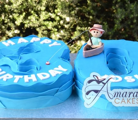 Number Fishing Themed Cake - Amarantos Custom Made Cakes Melbourne