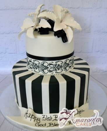 Black and White Cake - Amarantos Custom Made Cakes Melbourne