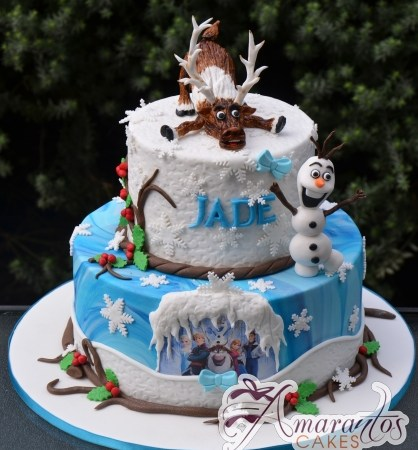 Two tier Frozen Cake - Amarantos Cakes Melbourne