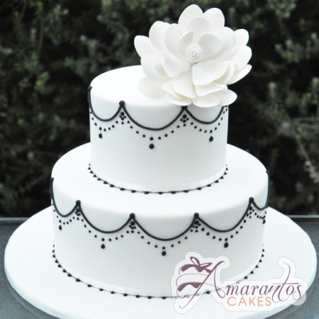 Two Tier With Flower Cake - Amarantos Designer Cakes Melbourne