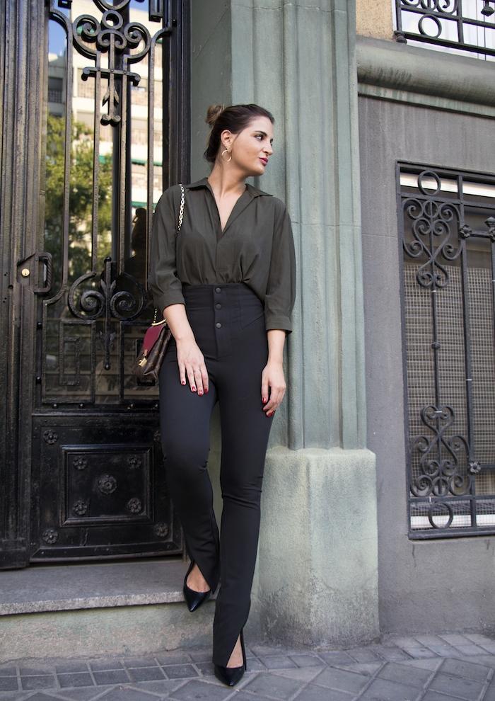 camisa verde pantalón negro louis vuitton bag amaras la moda paula fraile9