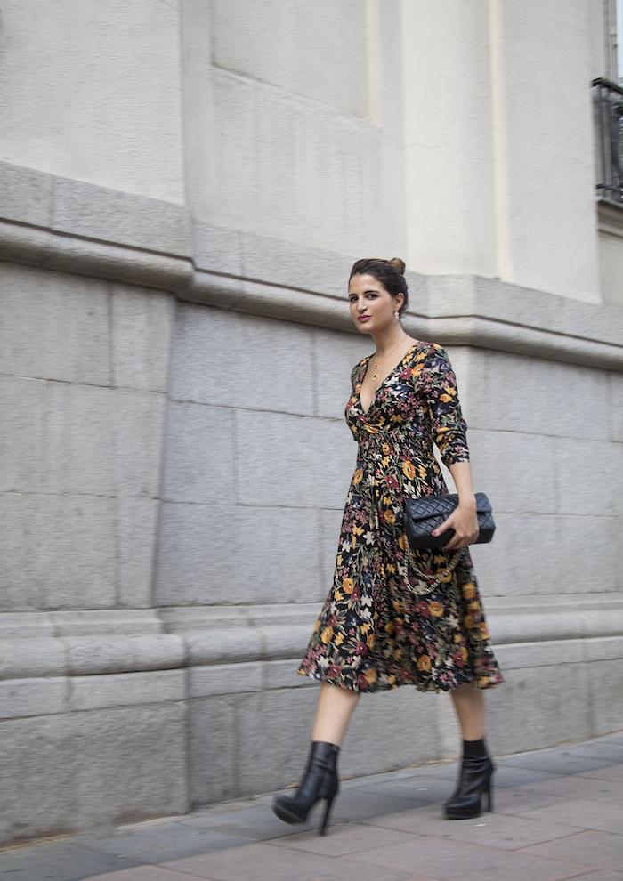 vestido flores prendientes pendientes acus amaras la moda paula fraile