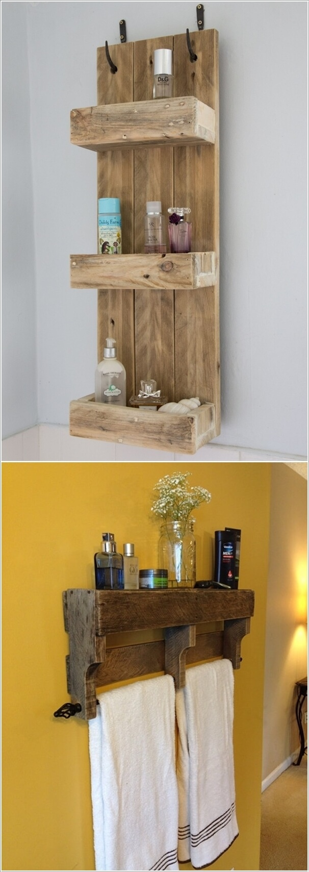 Stupendous Recycle Pallet Wood Very Less Money Create Wall Storage Bathroom Your Bathroom Small Bathrooms Building Shelves Build Shelves Diy Shelves Diy Shelves bathroom Homemade Shelves For Bathroom