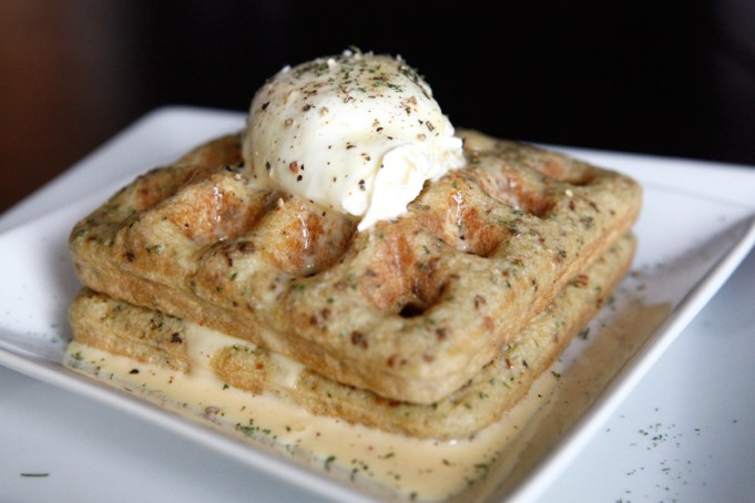 Savory Paleo Waffles with Poached Eggs and Hollandaise Sauce
