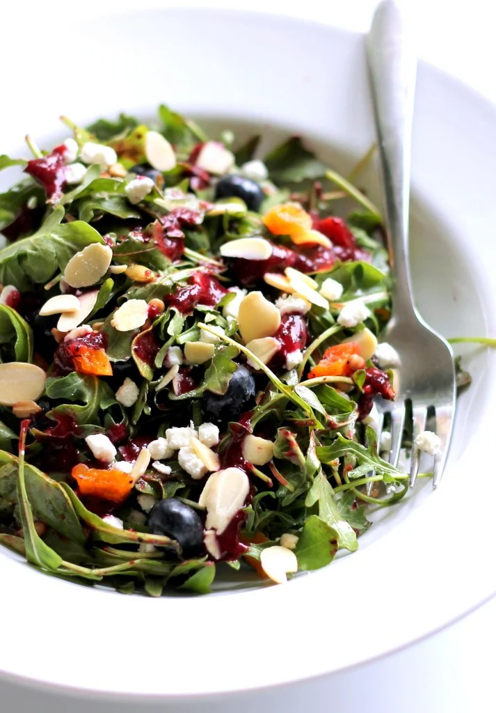 Paleo Deliciously Sweet Salad with Maple, Nuts, Seeds, Blueberries, and Goat Cheese
