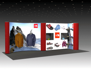 quadro 20ft pop up convention displays with waterfall hangers shelves and shadow boxes