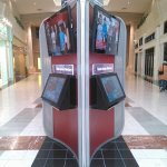 Three-sided Wayfinder Kiosk with video screens Built for an Upscale Mall