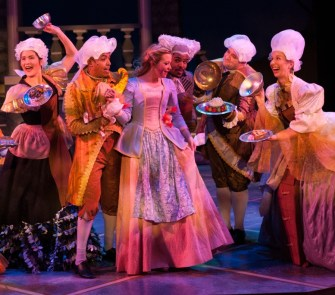"""""""Disney's Beauty and the Beast,"""" by Alan Menken, Howard Ashman, Tim Rice, and Linda Woolverton, at Imagination Stage in Bethesda, Md., through Jan. 15. Pictured: Jessica Lauren Ball and cast. (Photo by Margot Schulman)"""