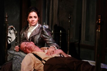 """""""Dr. Seward's Dracula"""" by Joseph Zettelmaier, at First Folio Theatre in Chicago, through Nov. 6. Pictured: Elizabeth Stenholt and Christian Gray."""