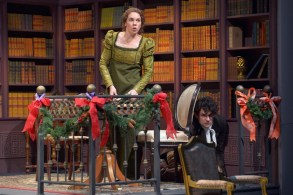 """""""Miss Bennet: Christmas at Pemberly,"""" by Lauren Gunderson and Margot Melcon, at Marin Theatre Company in Mill Valley, Calif., through Dec. 23. Pictured: Martha Brigham and Adam Magill. (Photo by Kevin Berne)"""