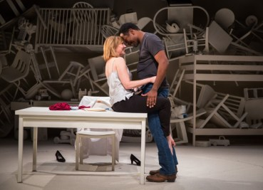 """""""Roz and Ray"""" by Karen Hartman, at Victory Gardens Theater in Chicago through Dec. 11. Pictured: Mary Beth Fisher and James Vincent Meredith. (Photo by Liz Lauren)"""