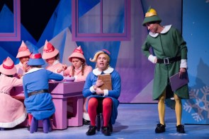 """""""Rudolph the Red-Nosed Reindeer: The Musical"""" by Sandy Boren-Barrett, at Stages Theatre Company in Hopkins, Minn., through Dec. 28. Pictured: Matt Ouren, Nathan Rowan, and cast. (Photo by Bruce Challgren for Stages Theatre Company)"""
