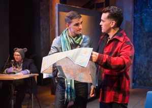 """""""Sons of the Prophet"""" by Stephen Karam, at New Conservatory Theatre Center in San Francisco through Dec. 18. Pictured: JD Scalzo, Eric Kerr, and Loralee Windsor. (Photo by Lois Tema)"""