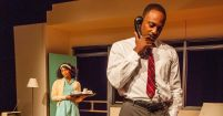 """The Mountaintop"" by Katori Hall, at Kitchen Theatre Company in Ithaca, N.Y., in 2015. Pictured: Angel Moore and Landon G. Woodson."