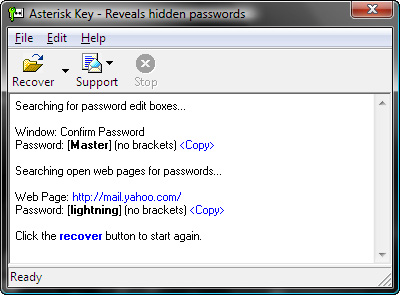 Asterisk Recover Passwords