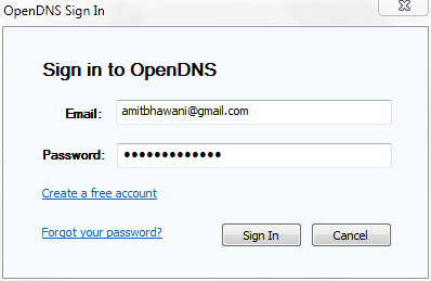 Signin OpenDNS Updater